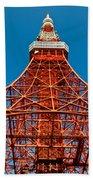 Tokyo Tower Faces Blue Sky Beach Towel by Ulrich Schade
