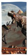 Tyrannosaurus Rex And Triceratops Meet Beach Towel