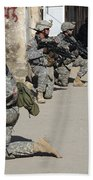 U.s. Army Soldiers Providing Security Beach Towel by Stocktrek Images