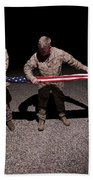 U.s. Marines Fold The American Flag Beach Towel