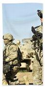 U.s. Soldiers Conduct A Combat Patrol Beach Towel