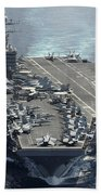 Uss Abraham Lincoln Transits The Indian Beach Towel