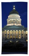 Utah Capitol Building At Twilight Beach Towel