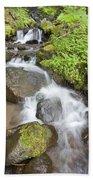 Water Cascading Over Rocks, Mount Hood Beach Towel