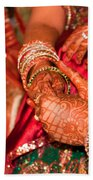 Women With Decorated Hands Holding Hands In A Hindu Religious Ceremony Beach Towel