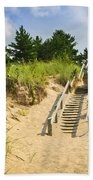 Wooden Stairs Over Dunes At Beach Beach Towel