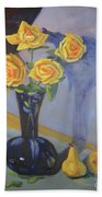 Yellow Roses And Pears Beach Towel