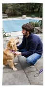 Dog Grooming Beach Towel by Photo Researchers, Inc.