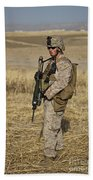 U.s. Marine Patrols A Wadi Near Kunduz Beach Towel