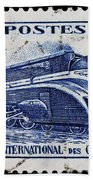 old French postage stamp Beach Towel