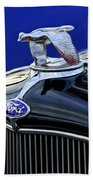 1932 Ford V8 Hood Ornament Beach Towel