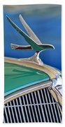 1935 Hudson Touring Sedan Hood Ornament Beach Towel