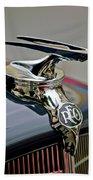 1935 Reo Speedwagon Pickup Hood Ornament Beach Towel