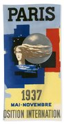 1937 Paris Exposition Beach Towel