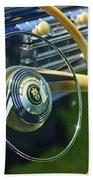1942 Lincoln Continental Cabriolet Steering Wheel Emblem Beach Towel