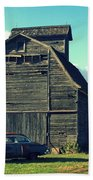 1950 Cadillac Barn Cornfield Beach Towel