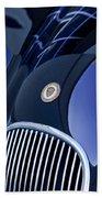 1951 Jaguar Proteus C-type Grille Emblem 4 Beach Towel by Jill Reger