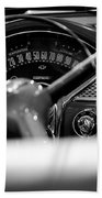 1955 Chevy Bel Air Dashboard In Black And White Beach Towel by Sebastian Musial