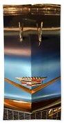 1956 Cadillac Eldorado Biarritz Convertible Hood Ornament And Emblem Beach Towel