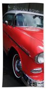 1956 Red And White Chevy Beach Towel
