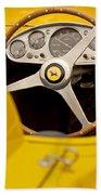 1957 Ferrari 500 Trc Scaglietti Spyder Steering Wheel Beach Towel