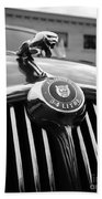1963 Jaguar Front Grill In Balck And White Beach Towel