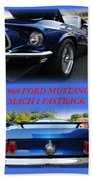 1969 Ford Mustang Mach 1 Fastback Beach Towel