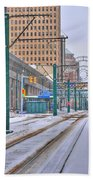 1st Real Snowfall Metro Rail 2012 Beach Towel