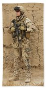 A German Army Soldier Armed With A M4 Beach Towel