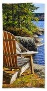 Adirondack Chairs At Lake Shore Beach Towel by Elena Elisseeva