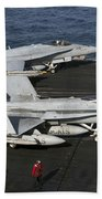An Fa-18c Hornet During Flight Beach Towel