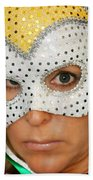 Blond Woman With Mask Beach Towel