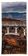 Bridge Over Autumn Beach Towel