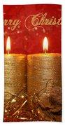 2 Candles Christmas Card Beach Towel