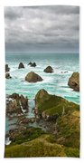 Cliffs Under Thunder Clouds And Turquoise Ocean Beach Towel