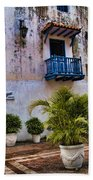 Colonial Buildings In Old Cartagena Colombia Beach Towel