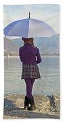 Girl With Umbrella Beach Towel