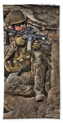 Hdr Image Of A German Army Soldier Beach Sheet