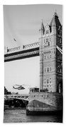 Helicopter At Tower Bridge Beach Towel