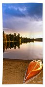 Lake Sunset With Canoe On Beach Beach Towel