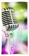 Microphone On Stage Beach Towel