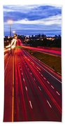 Night Traffic Beach Towel