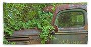Overgrown Rusty Ford Pickup Truck Beach Towel