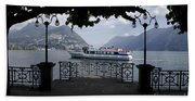 Passenger Ship On An Alpine Lake Beach Towel