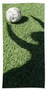 Shadow Playing Football Beach Towel