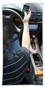 Texting And Driving Beach Towel by Photo Researchers, Inc.