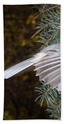 Tufted Titmouse In Flight Beach Towel