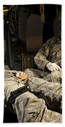U.s. Army Specialist Practices Giving Beach Towel