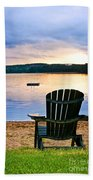 Wooden Chair At Sunset On Beach Beach Towel by Elena Elisseeva