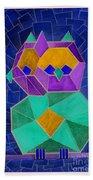 2010 Cubist Owl Negative Beach Towel